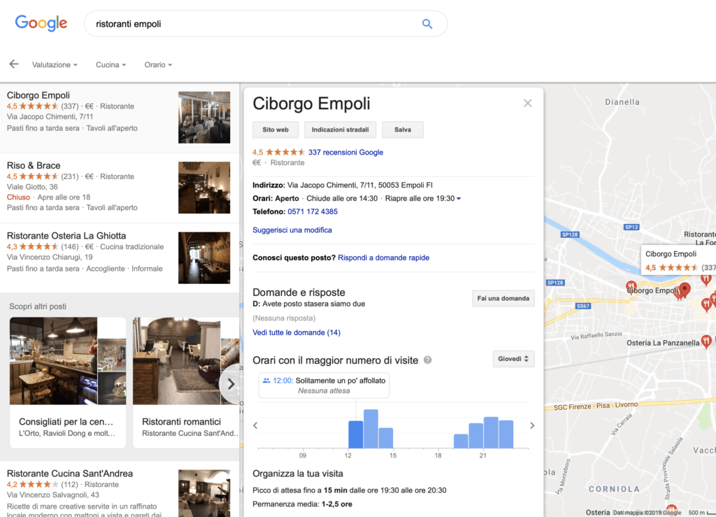 Scheda di Google My Business lato front-end